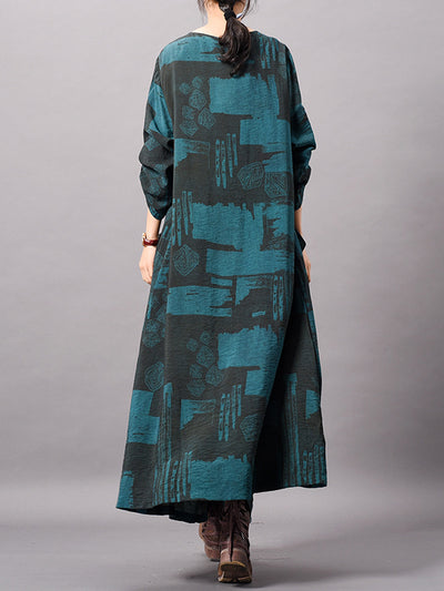 Goldie Contrasting Square Print Maxi Dress with Pockets
