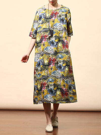 Tabatha Round-neck Contrasting Abstract Floral Print Ramie Midi Dress