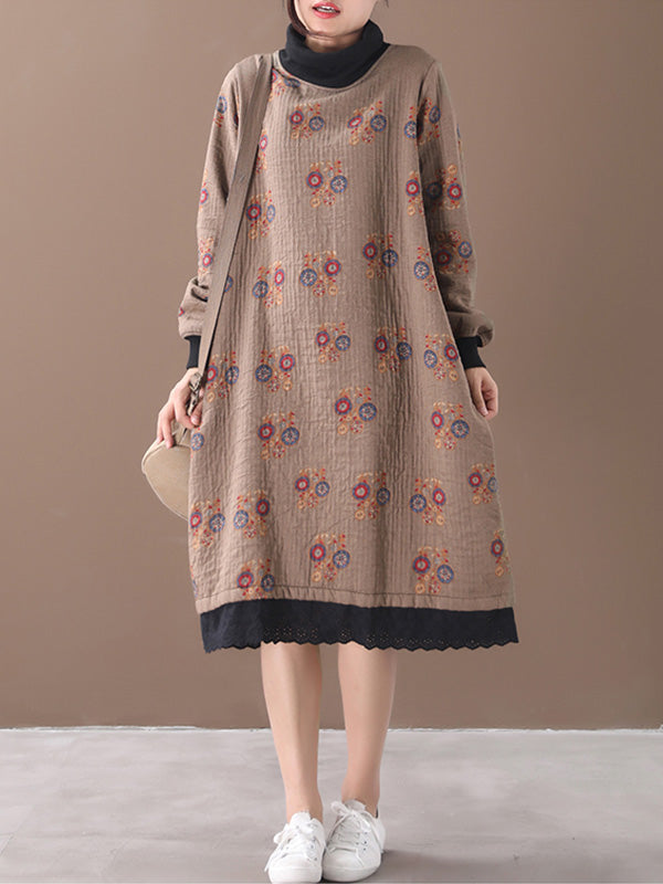 Floral Printing Cotton High-Neck Midi Dress