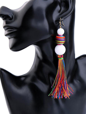 Rainbow ball Tassel Earrings