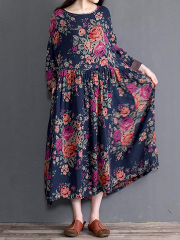 Floral Pleated A-Line Dress