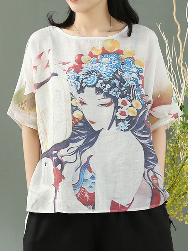 Flora Queen Linen Tunic T-Shirt Top