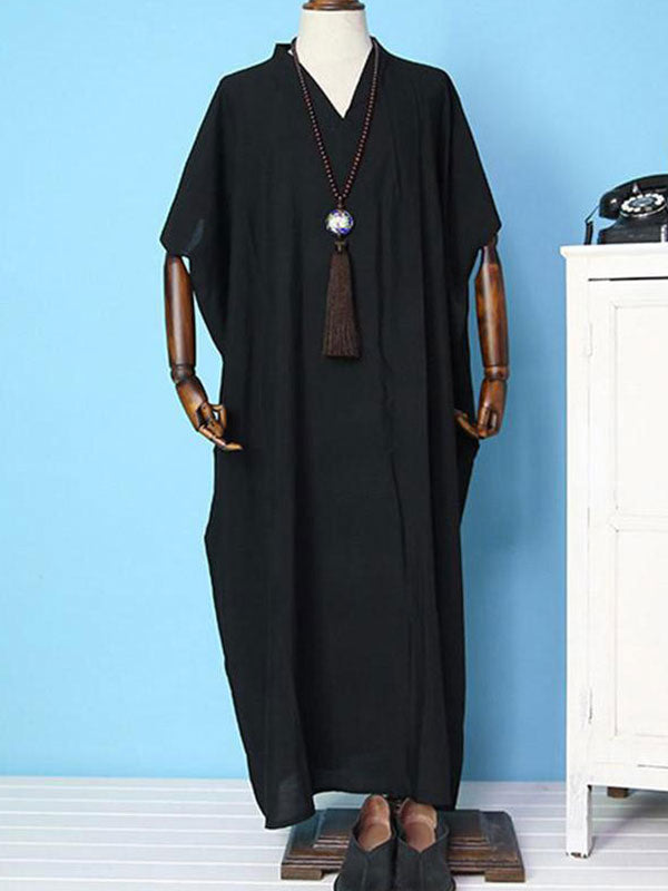 Black V-neck Kaftan Dress