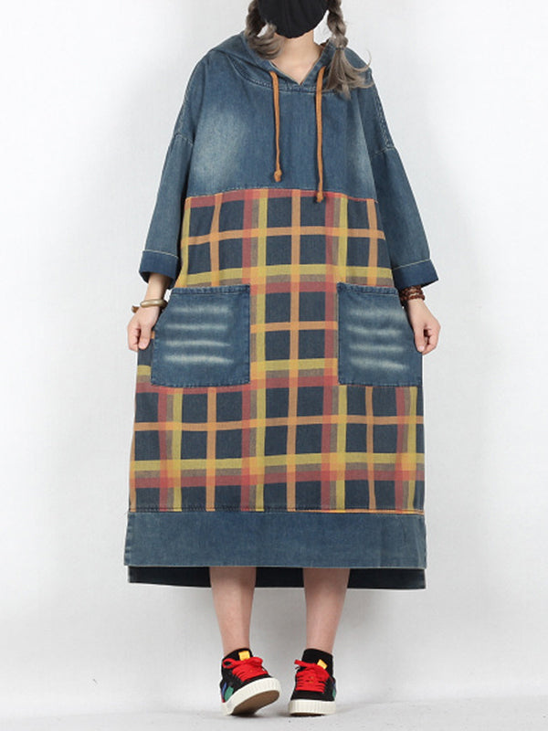 Amari Hooded Plaids Denim Blue Shift Dress