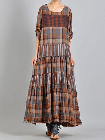 Grid Pendulum Maxi Dress