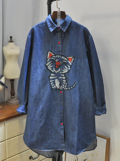 Simone Polo Collar Kitty Embroidered Denim Cowboy Shirt with Pockets