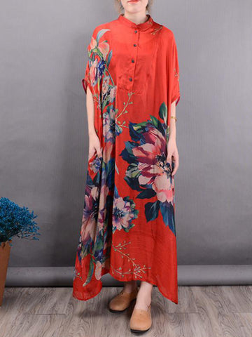 Front Button Collar Silk Dress