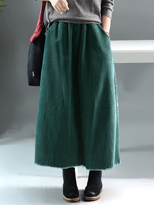 Simple Thickened Corduroy Skirt