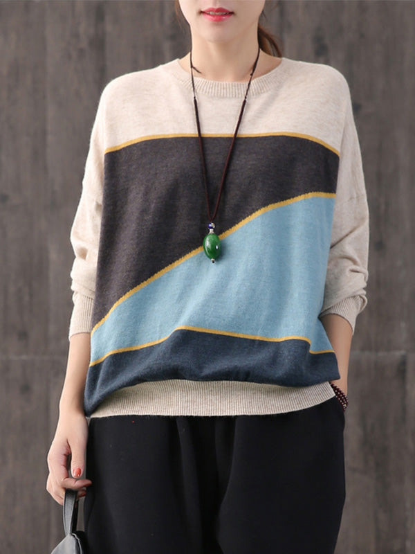Drop Shoulder Crew Neck Knitted Sweater