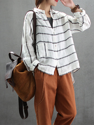 Bertie Stand Neck Vintage Linen Cotton Shirt with Stripes Fabric