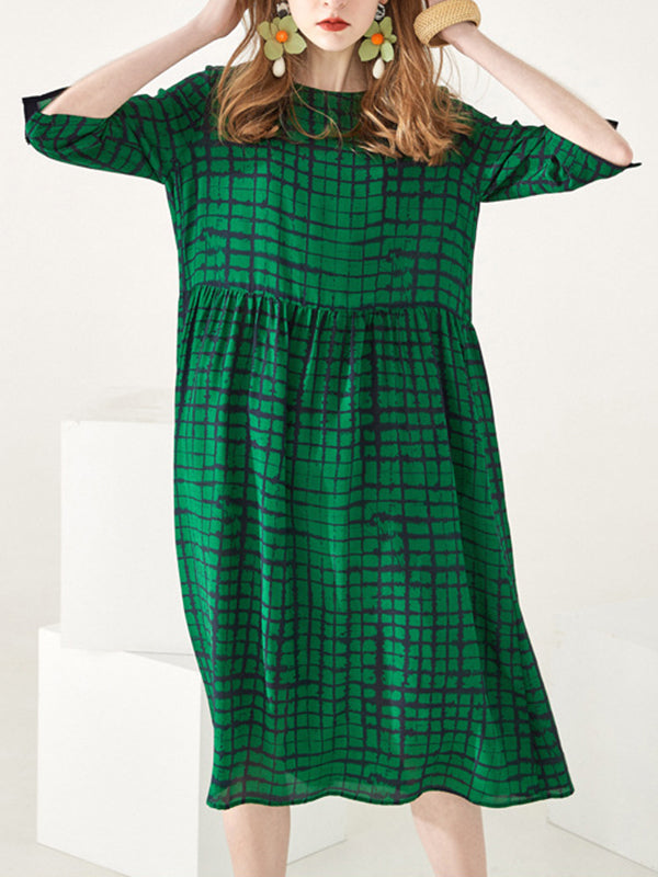 Leslie Mulberry Silk Plaids Midi Dress