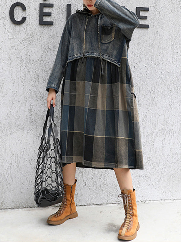 Plaid Print A-line Dress with Hoodie