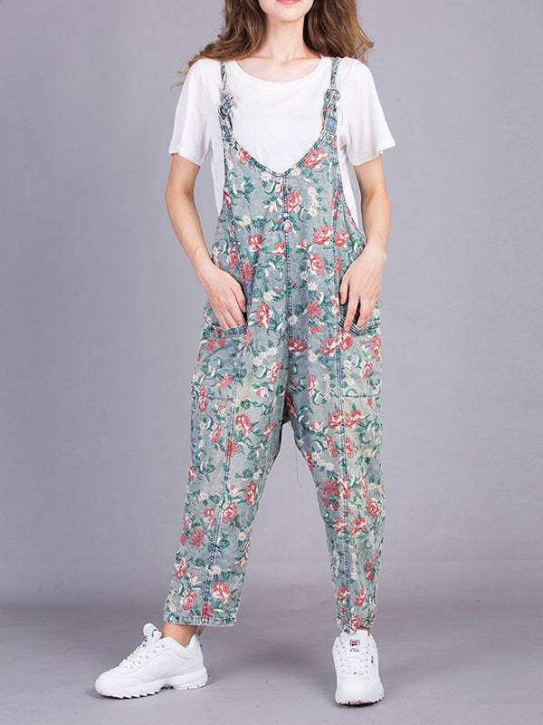 Floral Cluster Overall Dungarees