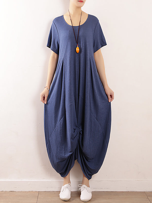 Feeling Crazy Lantern Style Linen Midi Dress