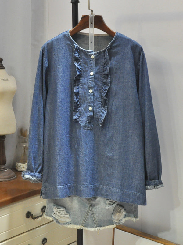 Eliza Round Collar Matching Flouncy Denim Cowboy Buttoned Shirt
