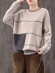 Loose Color Block Pullover Sweater