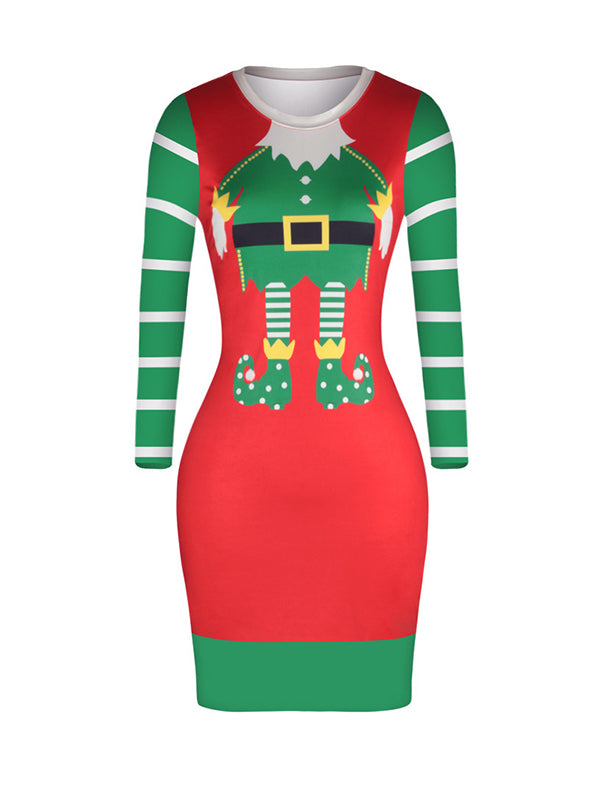 Kay Round Neck Christmas Figure Buttocks Midi Dress