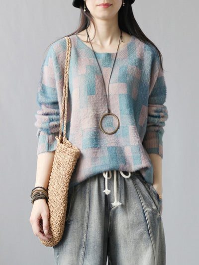 Color Block Lattice Cotton Sweater
