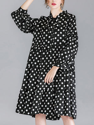 Selma Vintage Lace Up V-neck Contrasting Polka Dotted Midi Dress