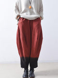 Color Contrast Jacquard Harem Pants