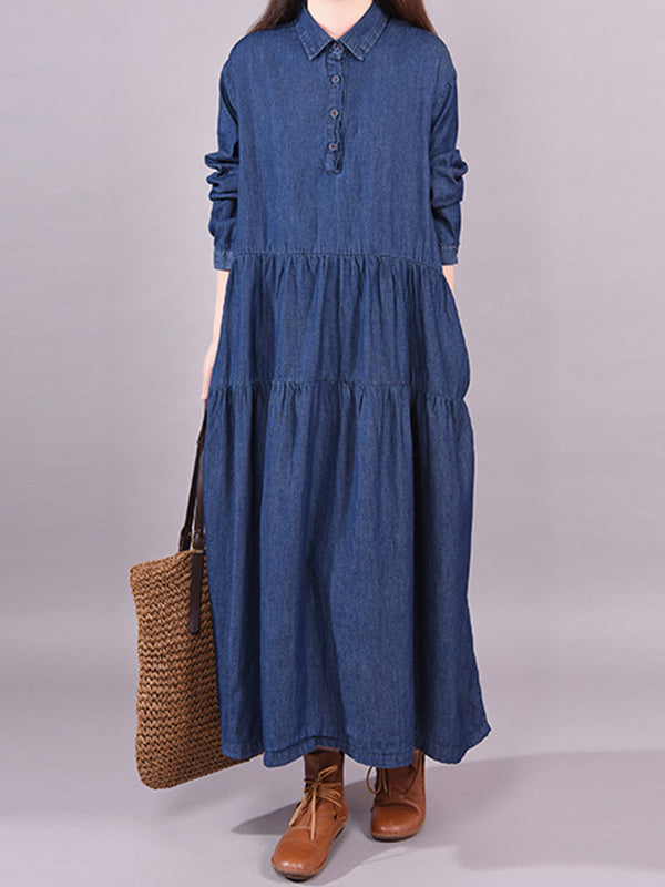80e894ffc4f Abbigail Polo Neck Pure Color Denim Pleated Shirt Dress