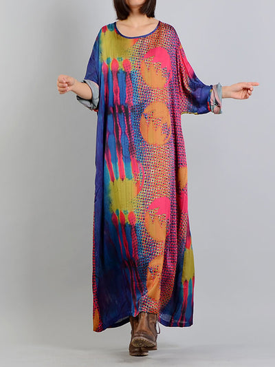 Strange Wild Color Print Maxi Dress