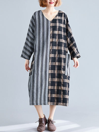 Stripe & Plaid Twist Cotton Midi Dress