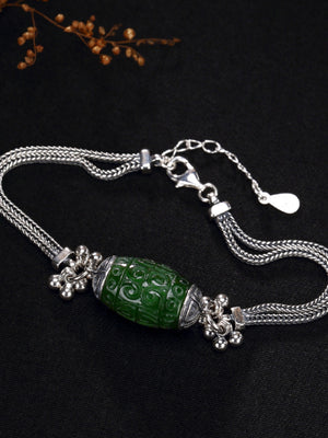 Jessie Vintage Silver Jade Bracelet with Luck Beads