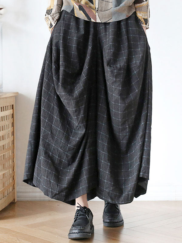 Lattice Irregular Wide Leg Cropped Pants