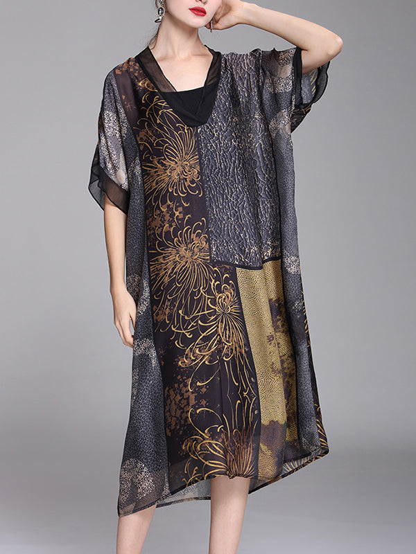 Lillie Golden Flowers Prints A-Line Dress