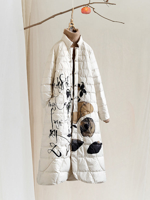 Thelma Stand Neck Ethnic Quilted Down Overcoat with Ink and Wash Painting