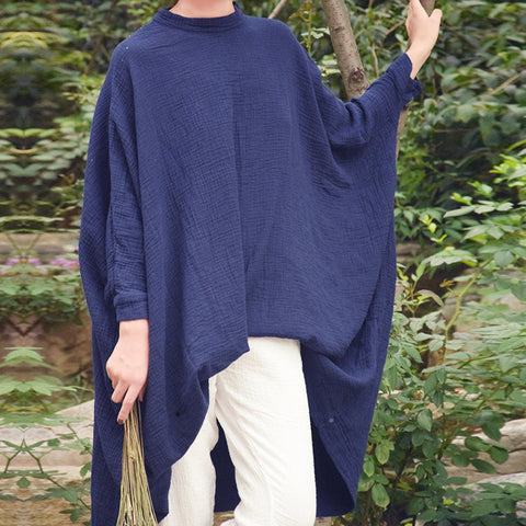 Bat Sleeves Long Loose Fit Cotton Top - Eva Trends