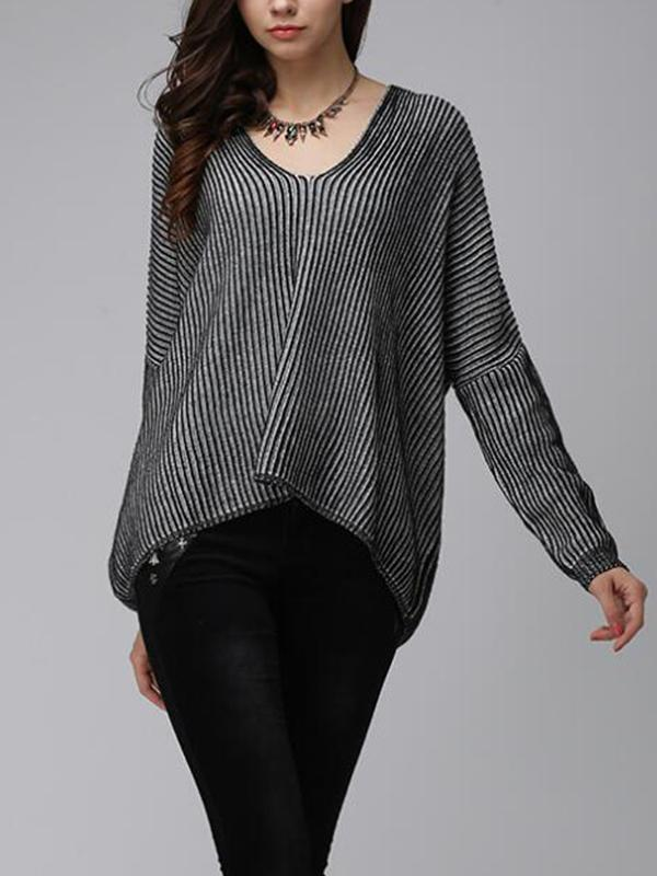 Pansy Alternating Stripes Pullover Sweatshirt with Batwing Sleeves