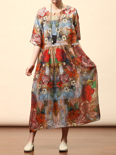 Jami Vintage Multi-color Abstract Floral Print High-waist Midi Dress