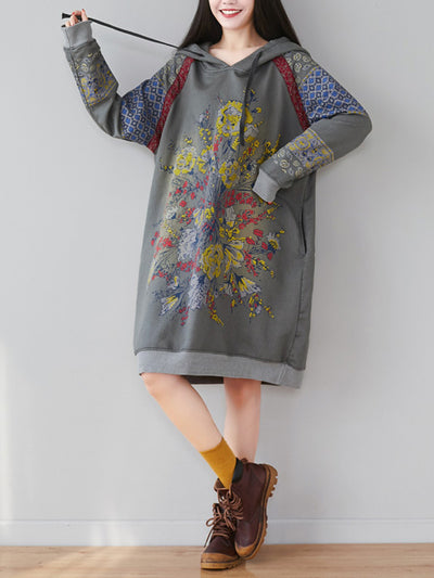 Drop Shoulder Floral Print Sweatshirt Dress