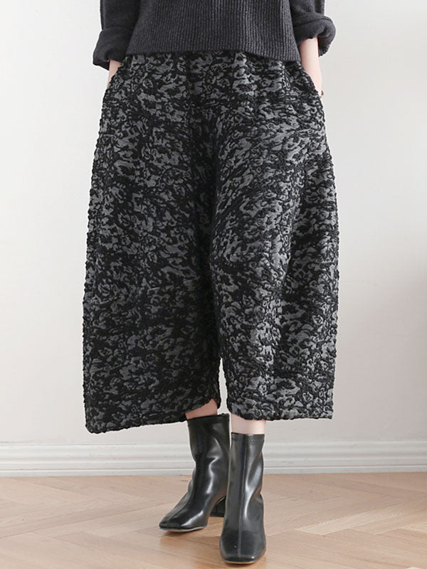 Jacquard Scallop Cropped Pants
