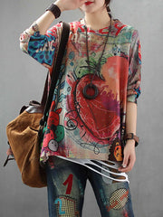 Caitlin Contrasting Fruit Printed Knit Top