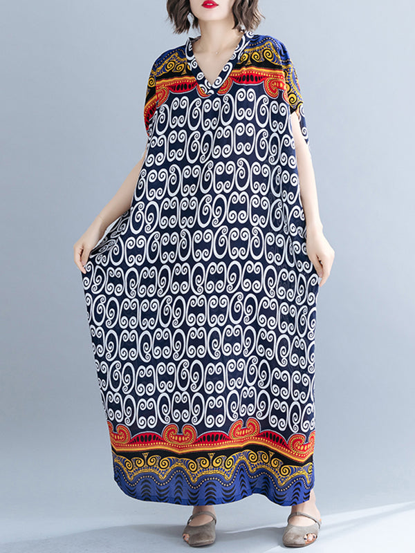 Cosmic Poppy Plus Size Kaftan Dress