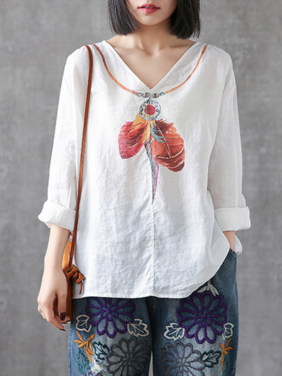 Tania Vintage V-neck Irregular Leather Necklace Print Linen T-shirt