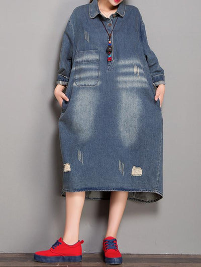 Remington Doll Collar Abrasion Ripped Denim Blue Shift Dress
