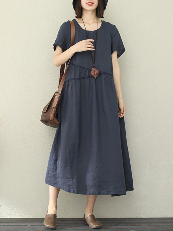 On-Jacket Pamila Linen A-Line Dress