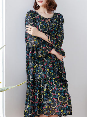 Ramona V Neck Floral Ruffle Midi Dress with Falbala Sleeve