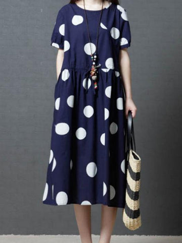 Polka Spam A-Line Dress