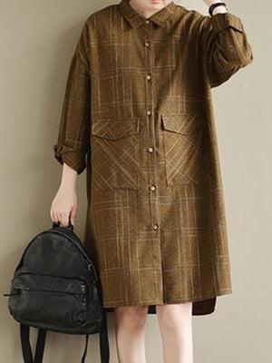 Plaid Print Front Pockets Shirt Dress