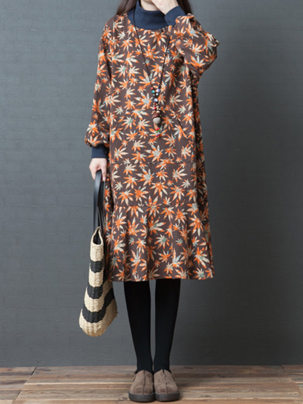 Pauline High Neck Cotton Midi Dress with Shivering Prints