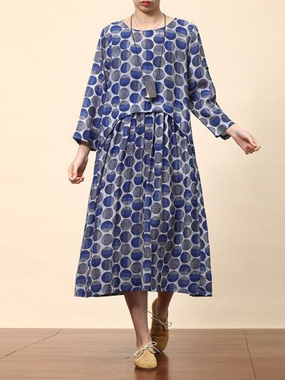 Avis Round-neck Bluish Contrasting Polka Dotted High-waist Ramie Smock Dress