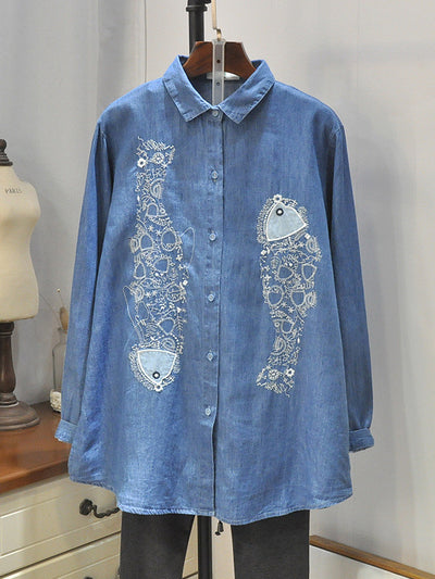 Georgina Polo Collar Matching Fish Embroidered Denim Cowboy Buttoned Shirt
