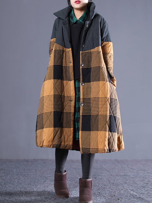 Glenda Stand Neck Cotton-Padded Overcoat with Joint Plaids