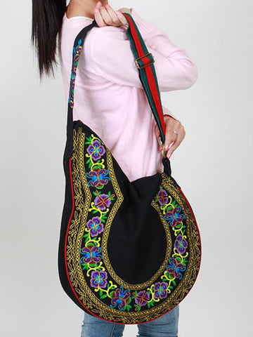 Embroidered Big Shoulder Handbag