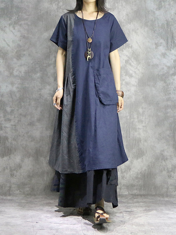 Fade & Jade Front Pocket Cotton & Linen Midi Dress